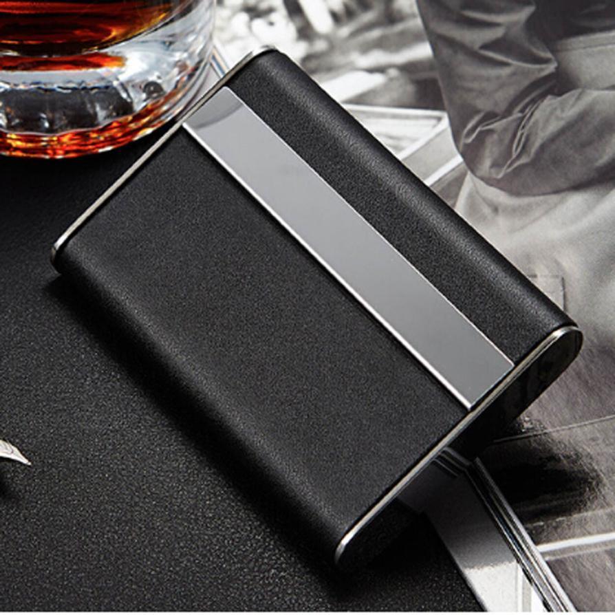 Black Pocket Leather Tobacco Cigarette Card Holder Storage Case Box ...