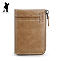 WILLIAMPOLO 2018 Leather Male Wallet Short Coin Purse Vintage Zipper Wallet POLO317