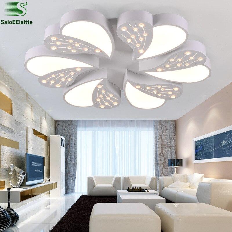 Luminarias Lustre de sala de estar minimalismo cristal Led araña de techo pintura blanca Led candelabro iluminación dormitorio iluminación - 2