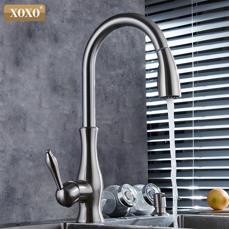 XOXO luxury kitchen faucet head quality copper brush nickel exports atomization pull out kitchen sink faucets