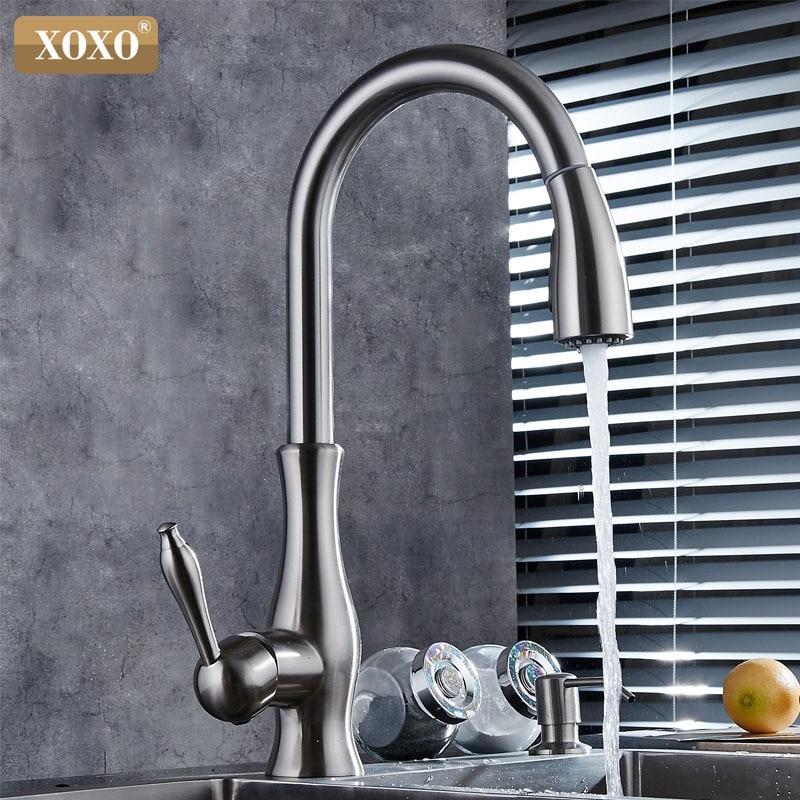 XOXO cuisine de luxe robinet tête qualité cuivre brosse nickel exportations atomisation pull out cuisine évier robinets mitigeur 83034