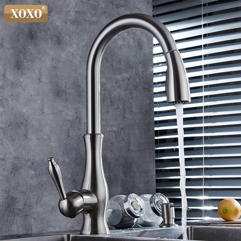 XOXO luxus küche wasserhahn kopf qualität kupfer pinsel nickel exporte zerstäubung pull out kitchen sink armaturen mischbatterie 83034