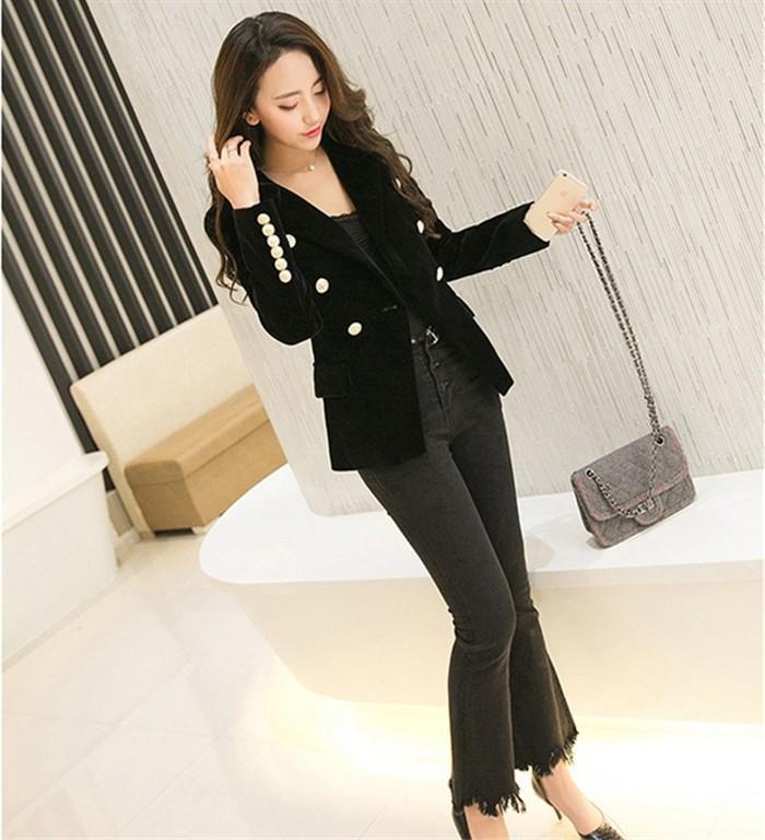 b6177540bd57 2016 New Spring Fashion Women Midnight Navy Slim Velvet Blazer Jacket  Double Breasted simple Lady Blazers ...