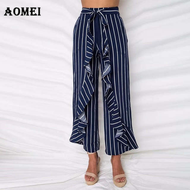 544d3afa628c placeholder Ladies Wide Leg Pants Trousers Navy Blue Stripe Ruffle Casual  Palazzo with Bowtie Waist Belt Culottes