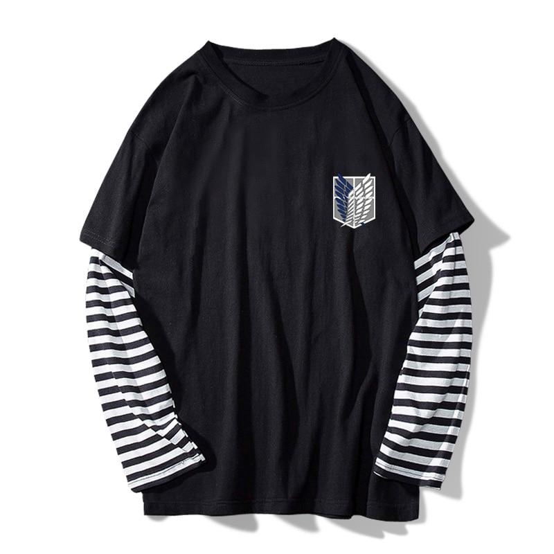 Amine Attack on Titan Stripe T-shirt Men's Casual Long Sleeve Fake 2pcs Tee Clothes O-neck Shirt