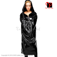 Sexy Latex cape with hood front zipper Jacket Rubber Robe Gummi coat catsuit Bolero Top blazer sleep bag plus size XXXL DY 008