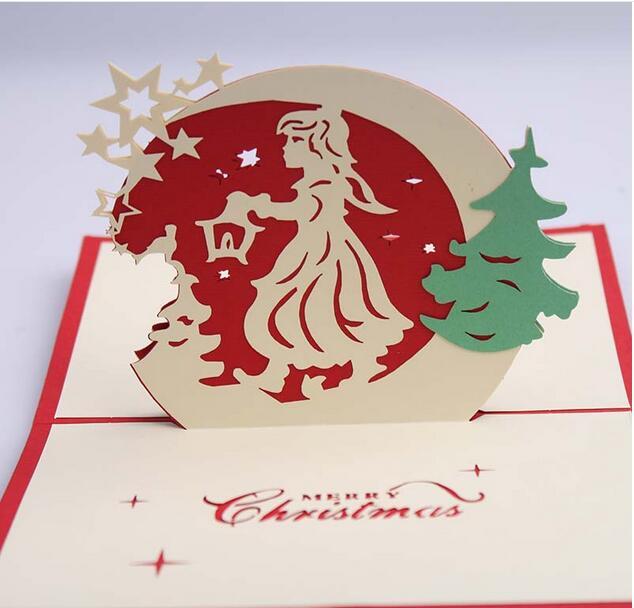10 Teile/los Neue Kreative 3D Körper Weihnachtsgeschenk Karte  Weihnachtsengel Papier Karneval Weihnachten Weihnachts Einladungskarten