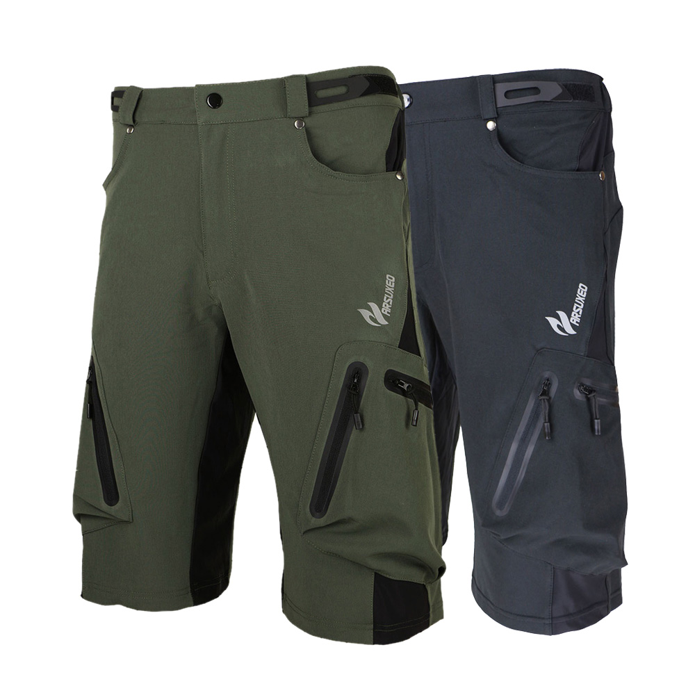 Arsuxeo Summer Men's MTB Shorts with Zipper Pockets Cycling Shorts Breathable Loose Outdoor Sports Hiking Camping Shorts outdoor sports pockets sv012199