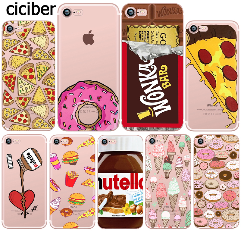 food donuts chocolate ice cream cartoon funny case for apple iphone 5s 5 se 7 8