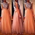 Coral da dama de honra vestidos longos Bridemaid Dress A linha elegante Formal vestidos de festa cristal frisado arco Robe de Demoiselle D'honneur