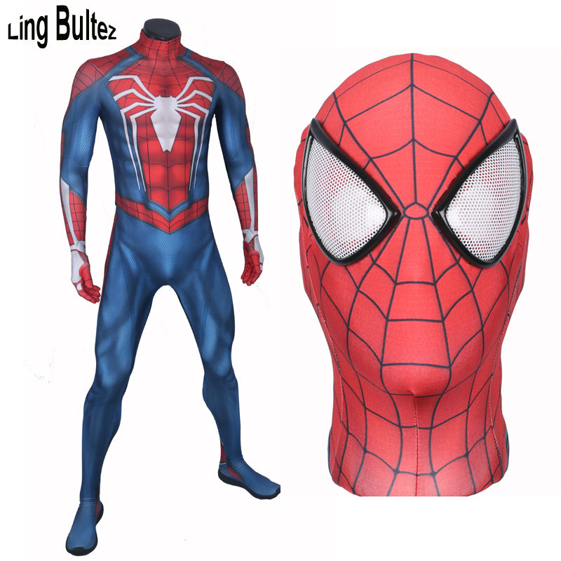 Ling Bultez High Quality Custom Made New PS4 Insomniac Spiderman Costume Game Spiderman Spandex Suit Game PS4 Spider Man Costume