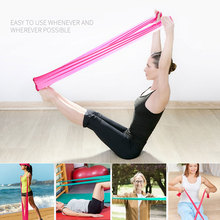 Free Shipping 1.2m Elastic Yoga Pilates Rubber Stretch Exercise Band Arm Back Leg Fitness thickness 0.35mm same resistance