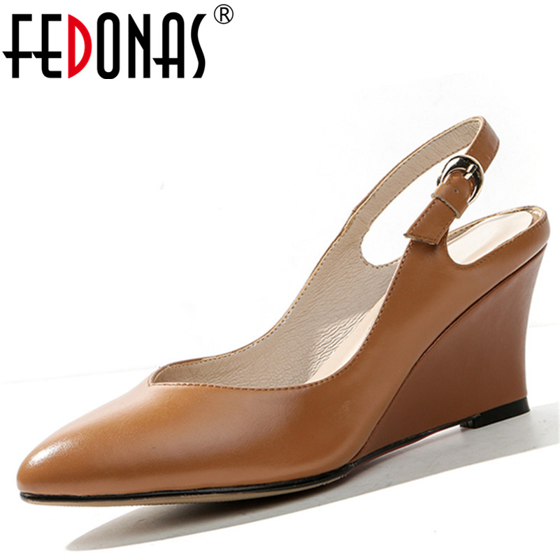 FEDONAS Fashion Women Wedding Pumps Genuine Leather Wedges Heels Classic Buckles Office Shoes Woman Ladies Slingbacks