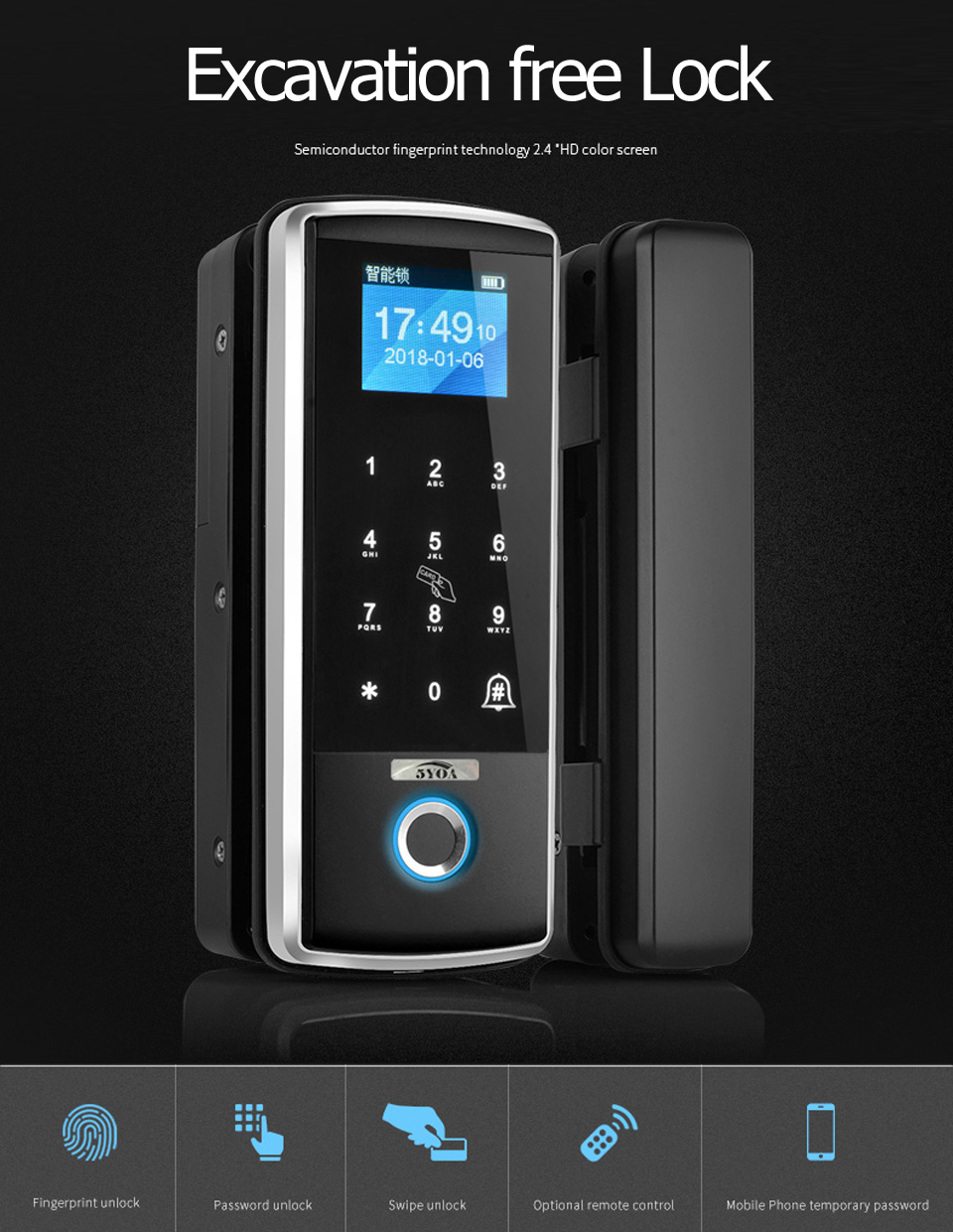 HTB129ehdWSs3KVjSZPiq6AsiVXa4 Smart Door Fingerprint Lock Electronic Digital Gate Opener Electric RFID Biometric finger print security Glass Password Card