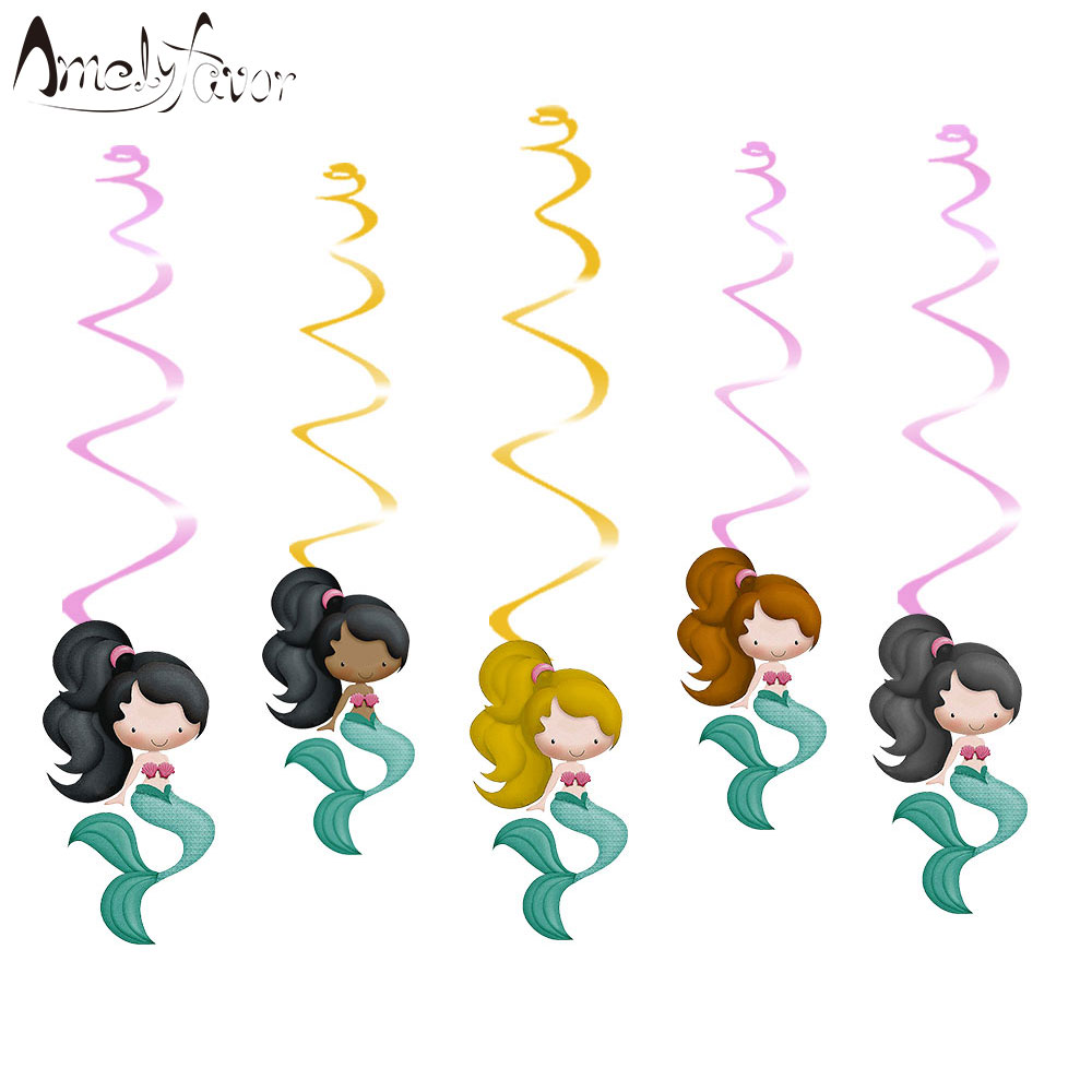 Pretty mermaids ceiling hanging swirl decorations cutout for Baby shower decoration cutouts