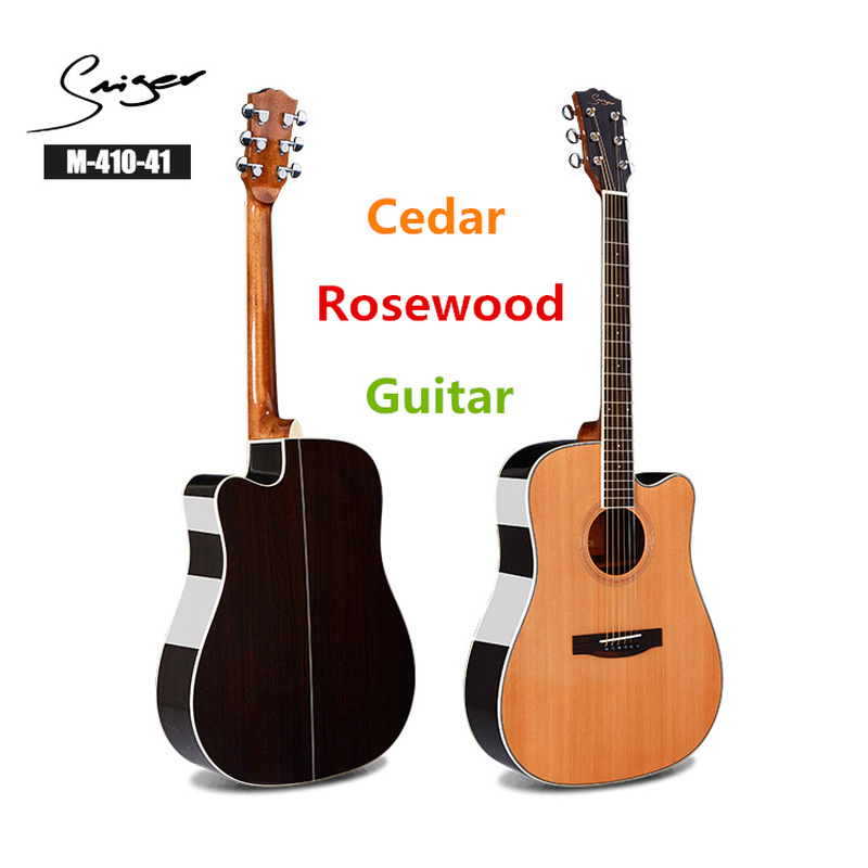 Guitare cèdre acoustique électrique acier-ficelle 41 pouces d-body Guitarra 6 cordes Folk Pop coupé bois couleur guitares pick-up