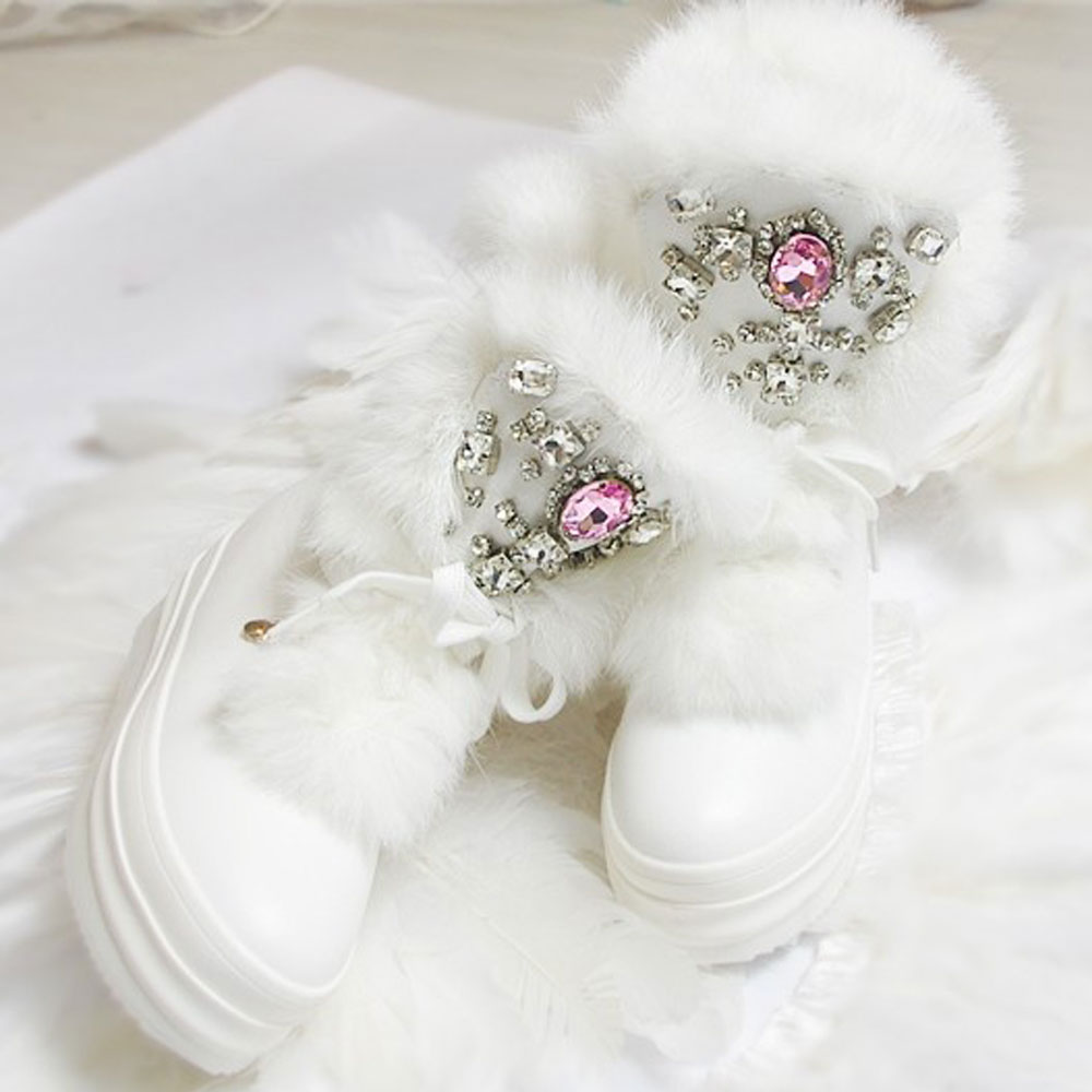 ФОТО Real Rabbit Fur White Winter Boots Rhinestones Diamond Fashion Snow Boots Thick Warm High-Top Women Shoes Plus Size 35-41