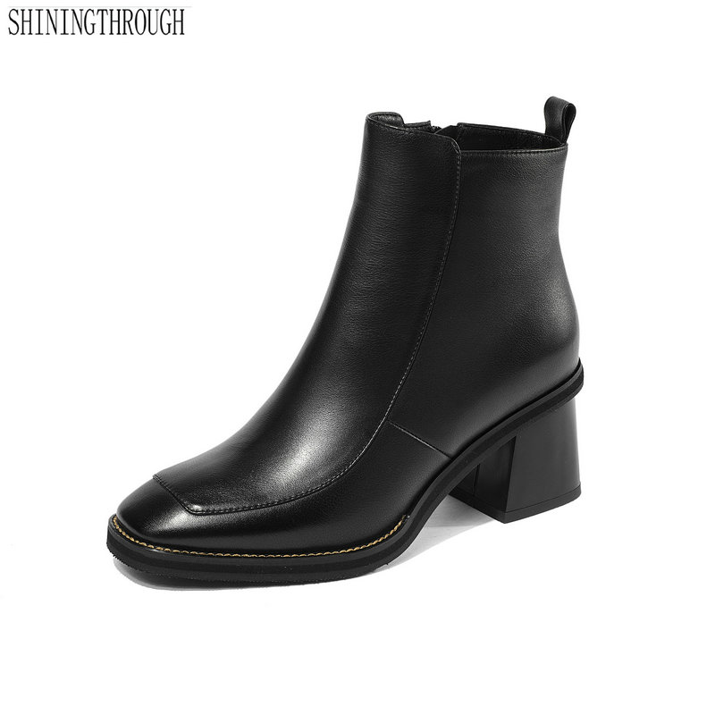 New women cow leather ankle boots thick high heels ladies dress shoes square toe black white autumn winter boots woman autumn winter black white high heels knight boots real leather shoes british retro metal decor pointy toe ankle boots for women