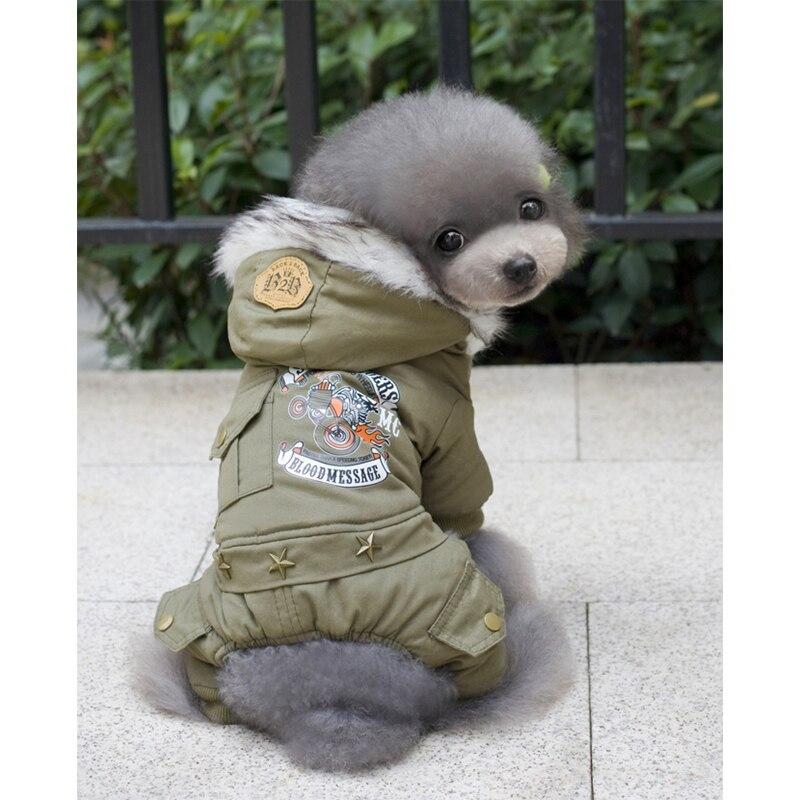 T-MENG暖かいフード付き四本足の犬服ドライバースタイルペット犬冬コート服ペット犬衣装チワワヨークシャー犬コート