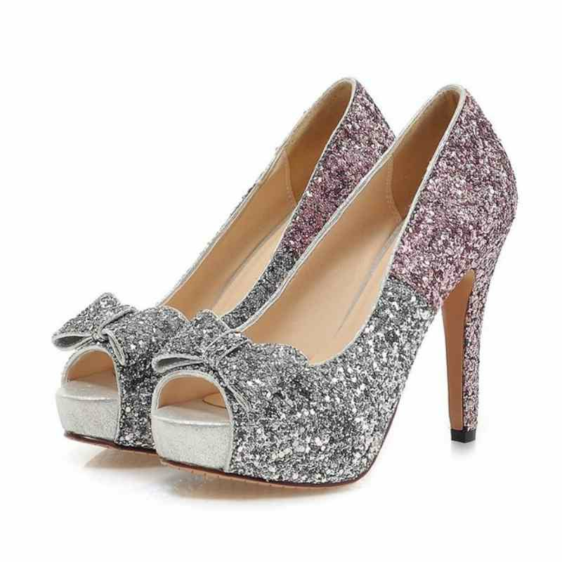 beautiful sparkling bridal shoes peep toe bow thin high heel shoes