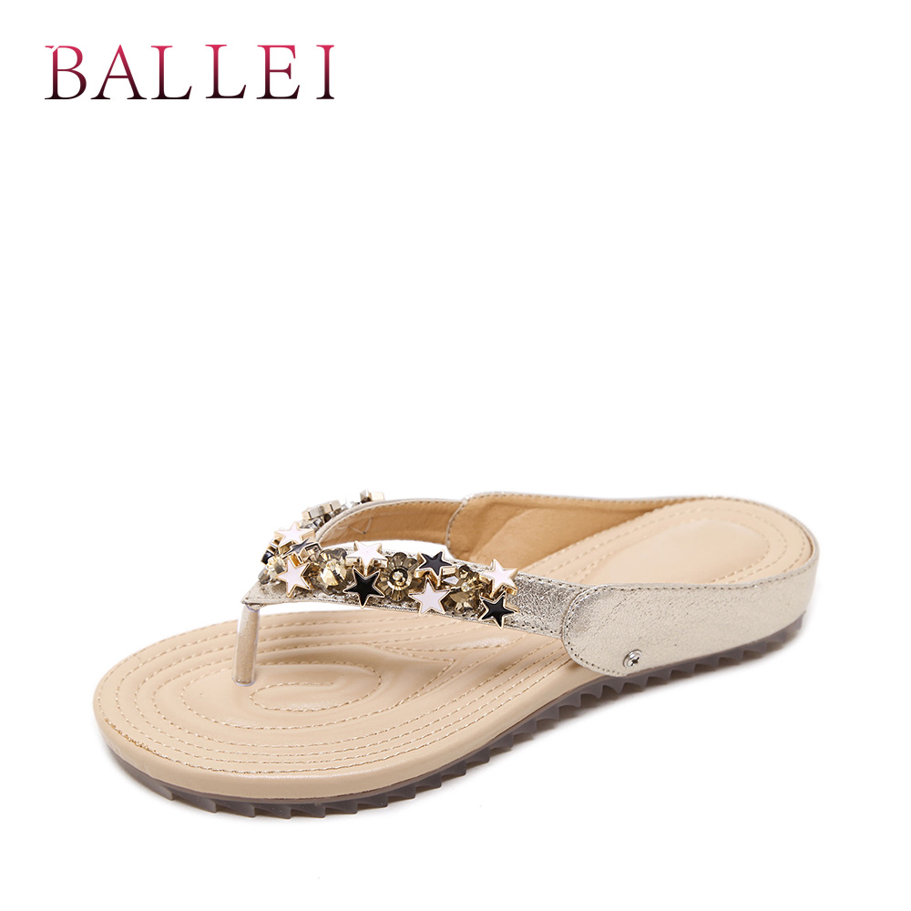 BALLE Luxury Woman Summer Slipper High Quality PU Comfortable Low Heel Shoes Crystal Classic Flip Flops Lady Elegant Slippers T8