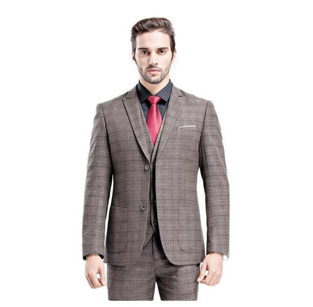 88a5030d 2017 New 2 Buttons Grey Plaid Groom Wear Tuxedos Wedding Suits Groomsmen  Best Man (Jacket