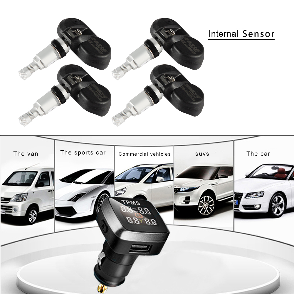 Car TPMS Tire Pressure Alarm Monitoring System Wireless Auto Tire Pressure Monitor + 4 Internal Sensor LCD Display For Toyota auto tire pressure sensor tpms tire pressure valve for vw cc oem 433mhz 3aa907275 retail wholesale free shipping promotion