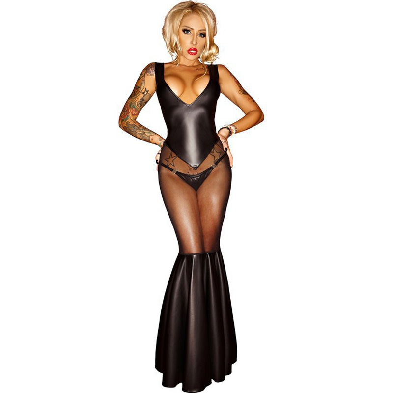 Buy Sexy lingerie Lady's PVC Leather Latex Catsuit Bondage Latex Mermaid Mesh dress Women Spandex Catsuit Clothing Wetlook