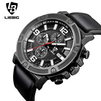New Fashion Military Quartz Men Watch Leather Calendar Waterproof Sport Watches Male Multifunction Relogio Masculino Clock