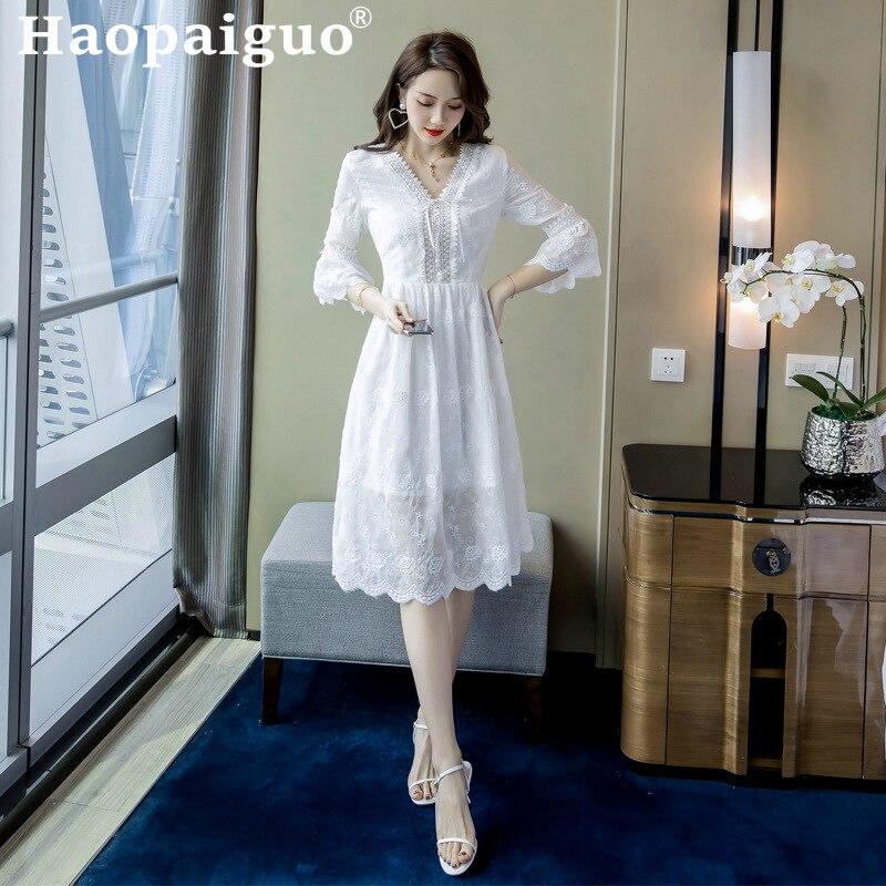 2019 été robe blanche femmes Flare manches Corset dentelle robe femmes solide grand Swing Floral femmes robe grande taille Vestidos Largos