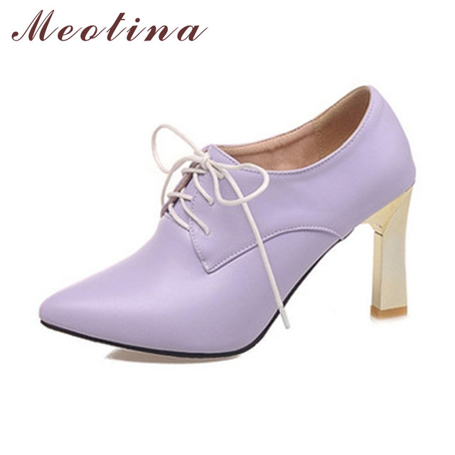 Meotina Shoes Women Pumps Autumn Pointed Toe Casual Thin High Heels Female Lace Up Solid Purple Sky Blue Shoes Big Size 9 10