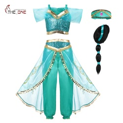 MUABABY Arabian Fancy Dress up for Girls Sleeveless Sequined Jasmine Cosplay Princess Costume Kids Halloween 2 Pcs Set Clothes