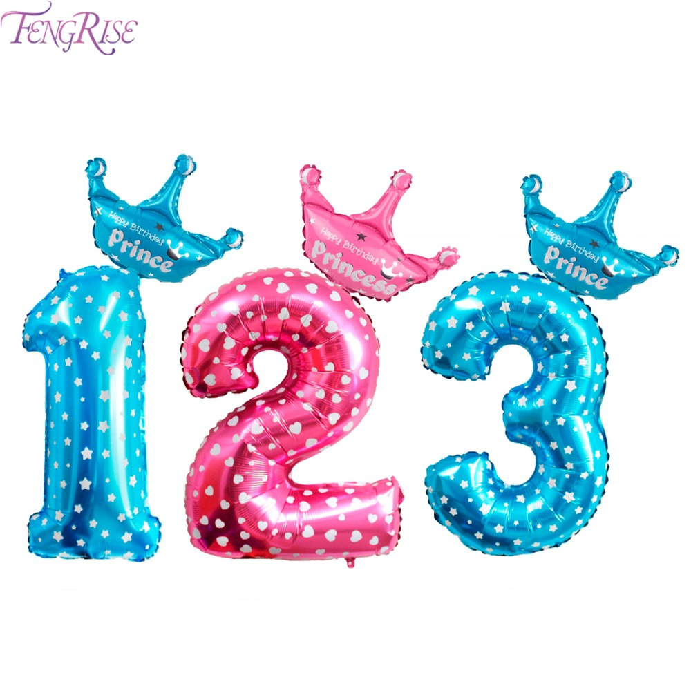 FENGRISE 32 Inch Gold Number Birthday Balloons Blue Pink Foil Crown Balloon 1 2 3 4 5 6 7 8 9 Years Old Ballon Baby Shower Girls