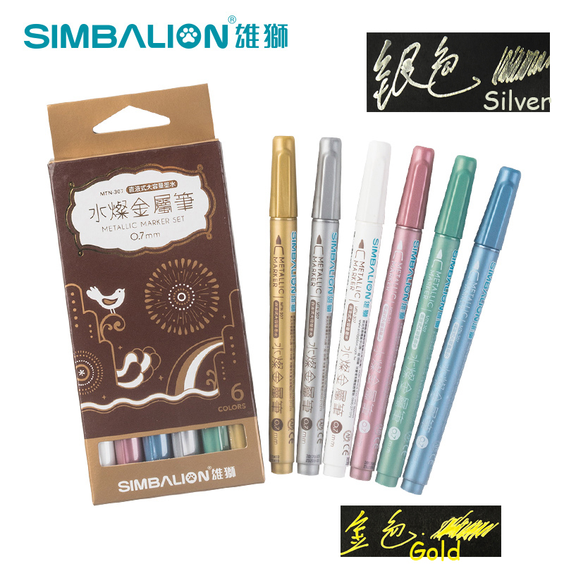 Simbalion 6pcs Metallic Paint Marker Pen Water-Based 0.7mm Extra Fine Point Drawing Non-toxic Material DIY Markers Art Supplies lomond fine art metallic