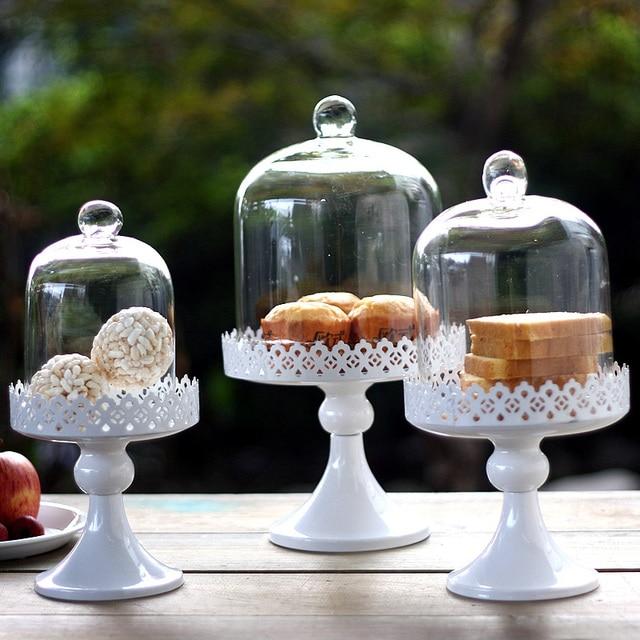 Mode Korea eisen dessertteller groß kuchen stehen brot rack mit glasabdeckung moderne hochzeit dekoration geschirr 626A
