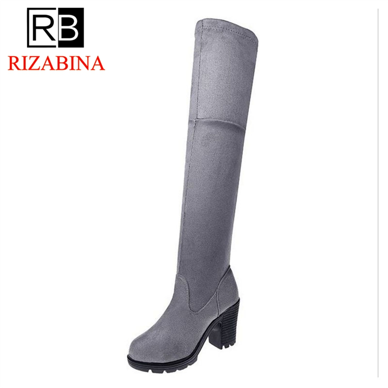 RizaBina Women High Heel Boots Round Toe Platfrom Female Over Knee Boots Fashion Simple Shoes Woman Footwear Size 35-40