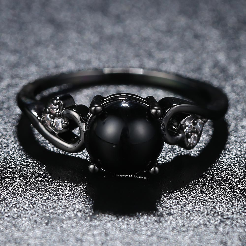 Beiver Black Gold Color Rings for Women Synthetic Fire Opal Wedding Jewelry Christmas