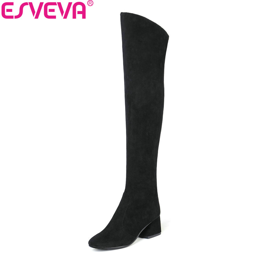 ESVEVA 2019 Women Boots Winter Over The Knee Boots Flock Western Style Square High Heel Synthetic Sewing Ladies Boots Size 34-43