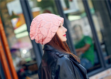 Fashion Women Lace Floral Beanie Skullies Hat Mesh Soft Double Layer Baggy Slouch Spring Autumn Girls Beanies
