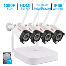 Tonton 1080P 8CH HD Wireless CCTV System 2MP WI-FI NVR kit Outdoor Night Vision Wifi Camera Security Surveillance 2TB HDD