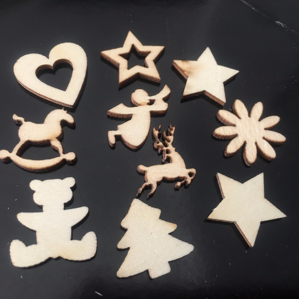 50pcs/ Christimas wooden decoration/ star/flower/tree/ different style /home decoration/children gifts/DIY/Lovely/
