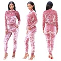 BKLD Velvet Tracksuits Women Suit 2017 New Fashion Autumn Winter Women Causal Pink Long Sleeve Tops+Drawstring Pants 2 Piece Set