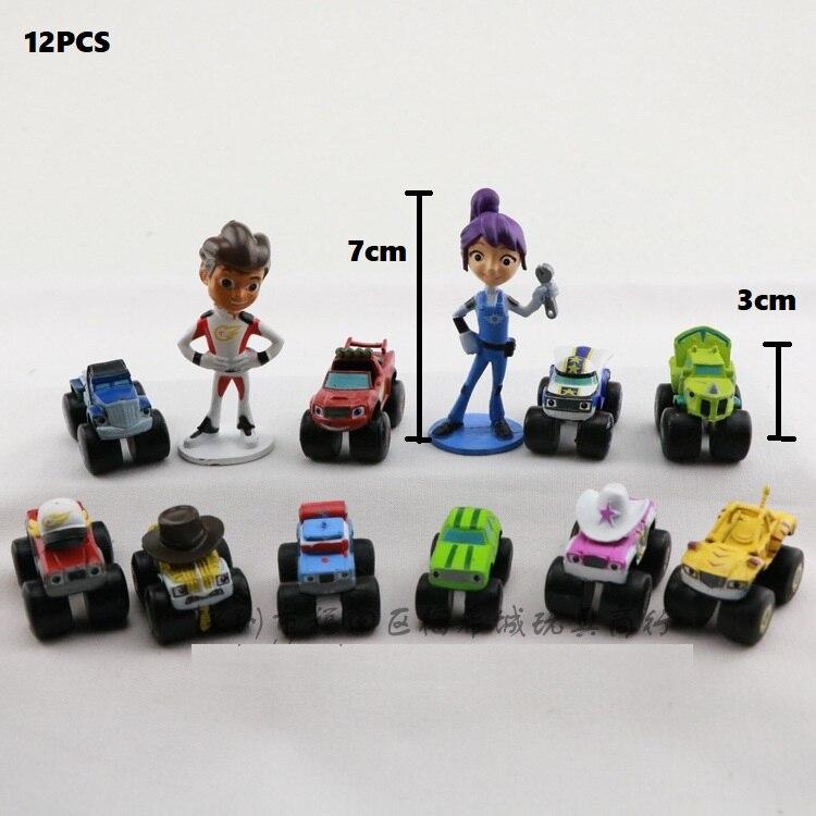 12 Stuks Mijn Leuke Blaze En De Kleine Monster Rock Machines Auto Actiefiguren Kinderen Speelgoed Anime Uitgebreide Selectie;