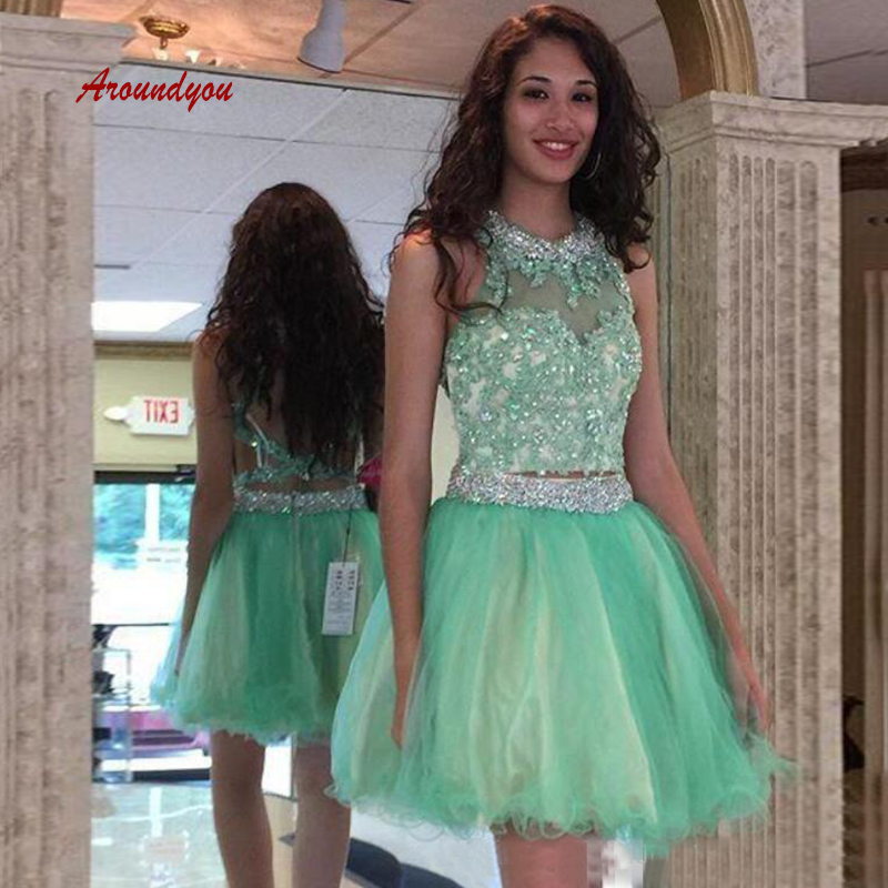 Sexy Mint Green Short   Cocktail     Dresses   Plus Size Lace Semi Formal Graduation Prom Party Homecoming   Dresses