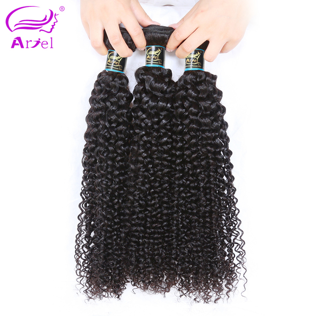 Ariel Afro Kinky Curly Hair Bundles Remy Peruvian Human Hair Weaving