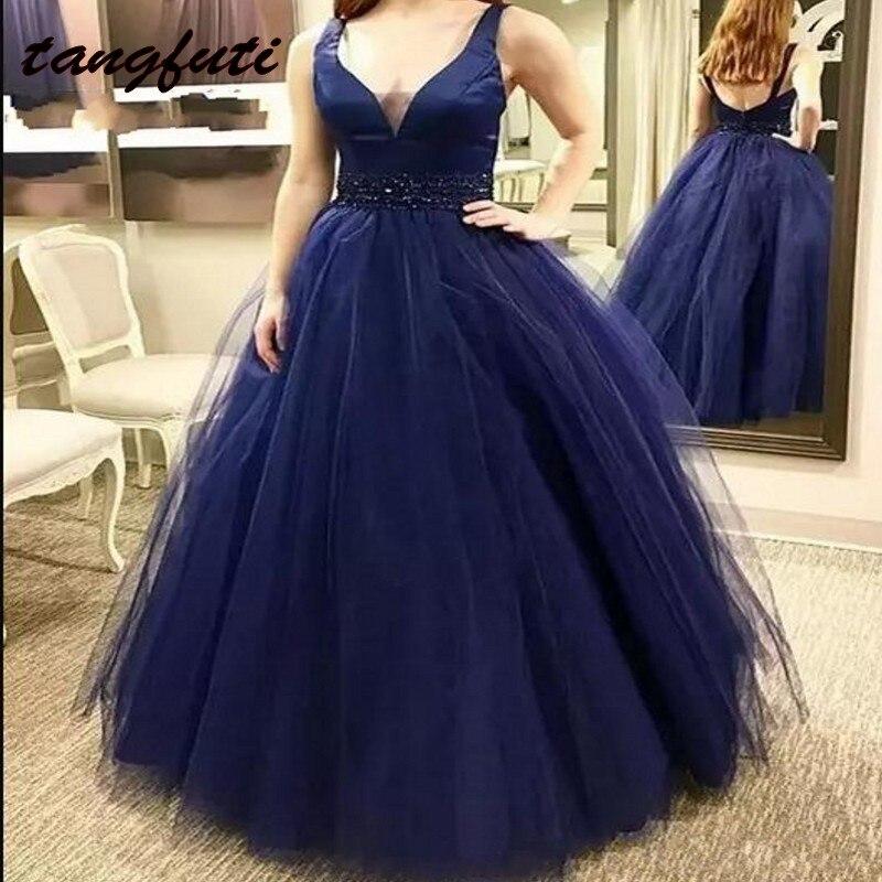 Темно синие Вечерние платья Длинные вечерние трапециевидной формы Тюль Жемчуг пояса Формальные вечерние платье носить вечернее платье longue