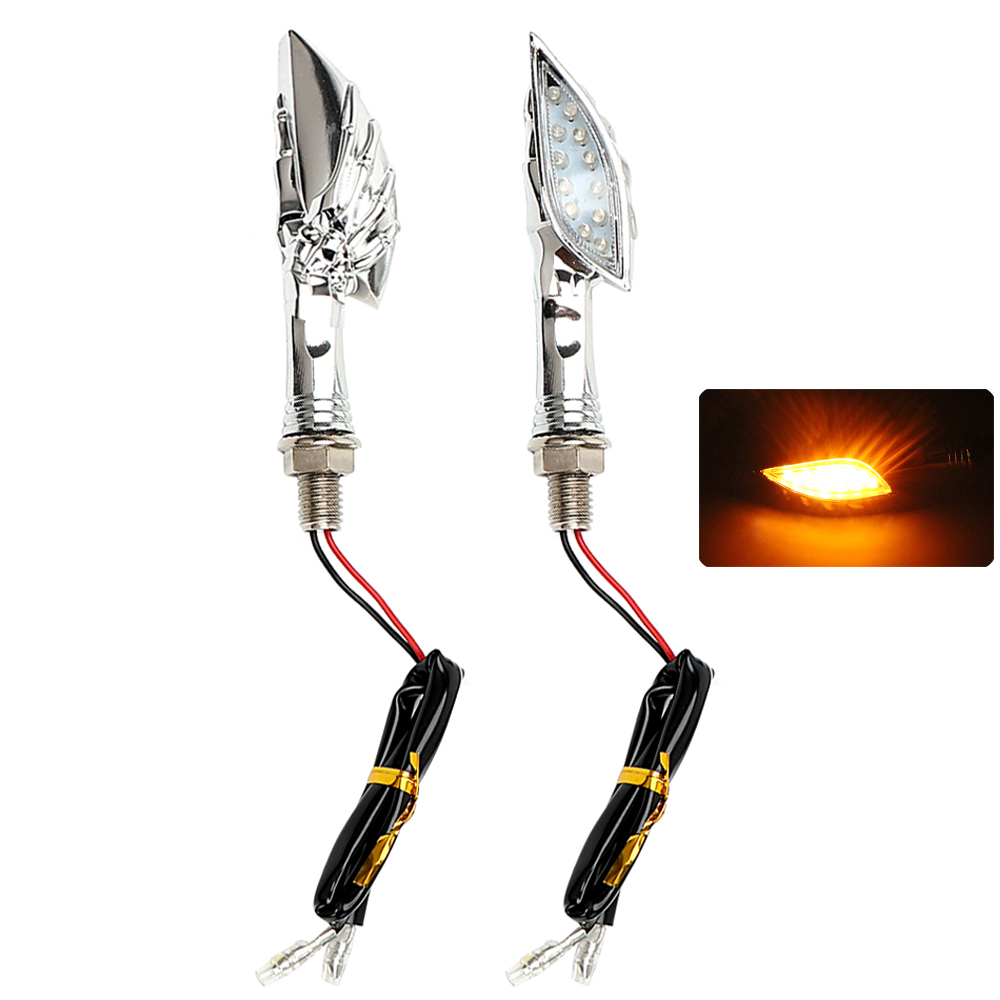 2pcs/Set Skull Hand Motorcycle Turn Indicators LED Turn Signal Light For Honda Suzuki Kawasaki Moto Blinker Lamp Amber