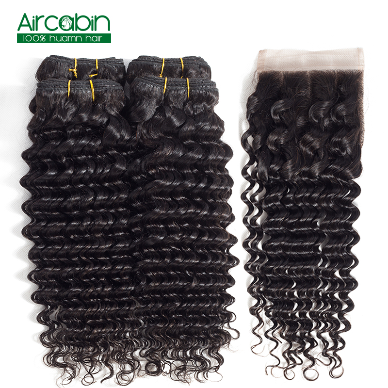 Brazilian 4 Bundles Human Hair with Closure Deep Wave Bundles with Closure AirCabin 100% Remy Hair Weave Extensions