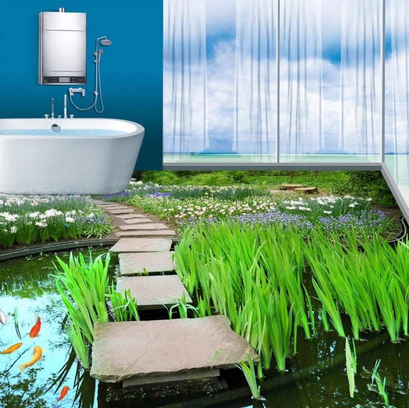picture in picture 3d floors wallpaper murals Pool Koi wallpaper stereoscopic 3d mural 3d floor tiles living room free shipping 3d rockery pool plant floral bedroom living room toilet hotel restaurant floor painting wallpaper mural