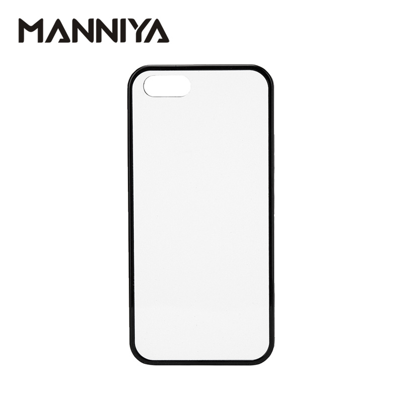 MANNIYA 2D Sublimation Blank rubber TPU PC Case for iphone 5 5S SE with Aluminum Inserts